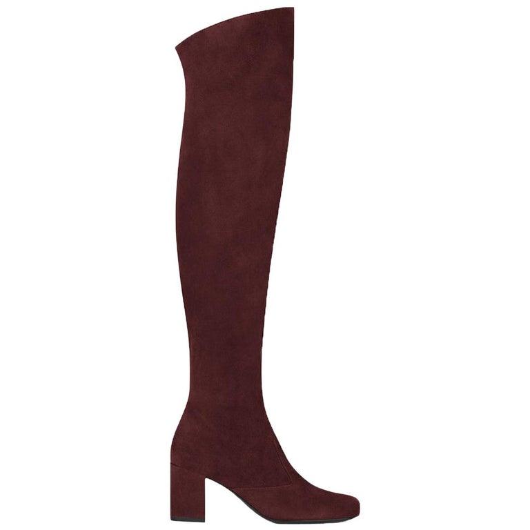 Saint Laurent BB 70 Over-the-Knee Suede Boots