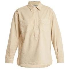 SAINT LAURENT beige cotton Half Button Denim Shirt M