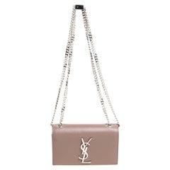 Saint Laurent Beige Leather Small Monogram Kate Shoulder Bag