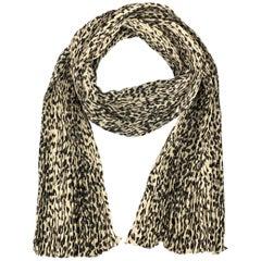 SAINT LAURENT Beige Leopard Print Wrinkle Pleated Silk Scarf