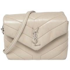 Saint Laurent Beige Matelassé Leather Loulou Crossbody Bag