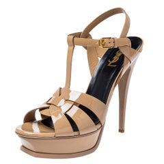 Saint Laurent Beige Patent Leather Tribute Ankle Strap Sandals Size 40.5