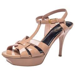 Saint Laurent Beige Patent Leather Tribute Platform Sandals Size 40