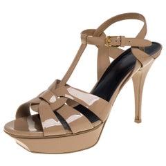 Saint Laurent Beige Patent Leather Tribute Sandals Size 42