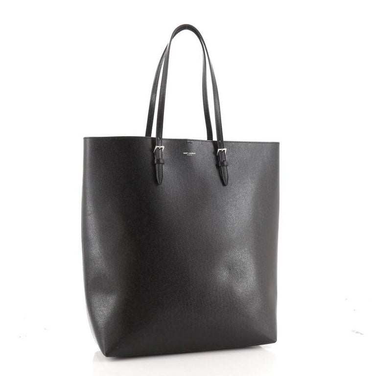 Black Saint Laurent Belted Open Tote Leather