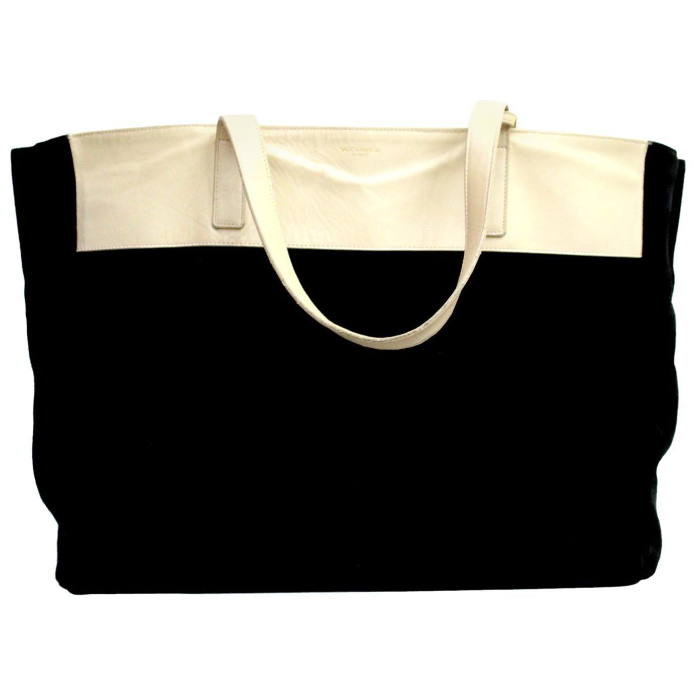 Saint Laurent Black and Beige Shopping Bag