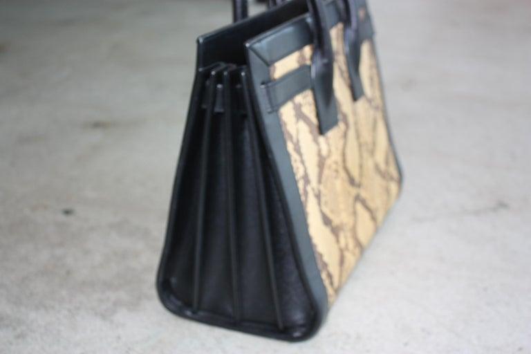 Women's or Men's Saint Laurent Black and Python Bag  For Sale