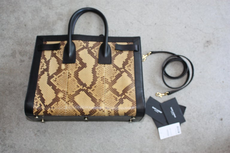 Saint Laurent Black and Python Bag  For Sale 2