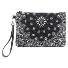 Saint Laurent Black Bandana Monogram Wristlet Pouch Bag