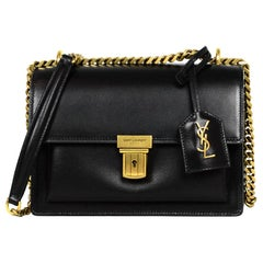 Saint Laurent Black Calfskin Small Chain High School Crossbody Flap Bag