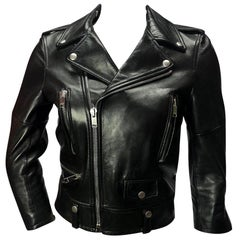 Saint Laurent Black Classic Leather Moto Jacket Size XS/S