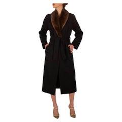 Saint Laurent Black Coat with Brown Fur Trim