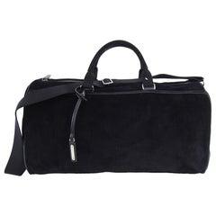 Saint Laurent Black Corduroy Andy Duffle Weekender Bag