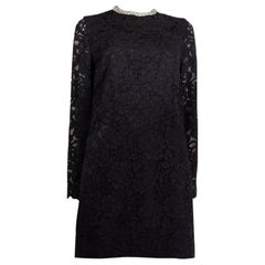 SAINT LAURENT black cotton EMBELLISHED LACE Cocktail Dress 42