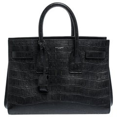 Saint Laurent Black Croc Embossed Leather Small Classic Sac De Jour Tote