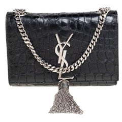 Saint Laurent Black Croc Embossed Leather Small Kate Tassel Crossbody Bag