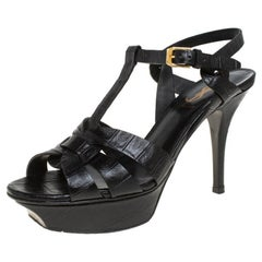 Saint Laurent Black Croc Embossed Leather Tribute Platform Sandals Size 36.5