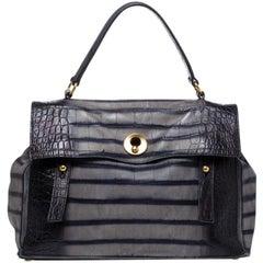 Saint Laurent Black Croc Embossed Nubuck Leather Large Muse Two Bag
