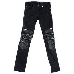 Saint Laurent Black Denim Biker Jeans XL