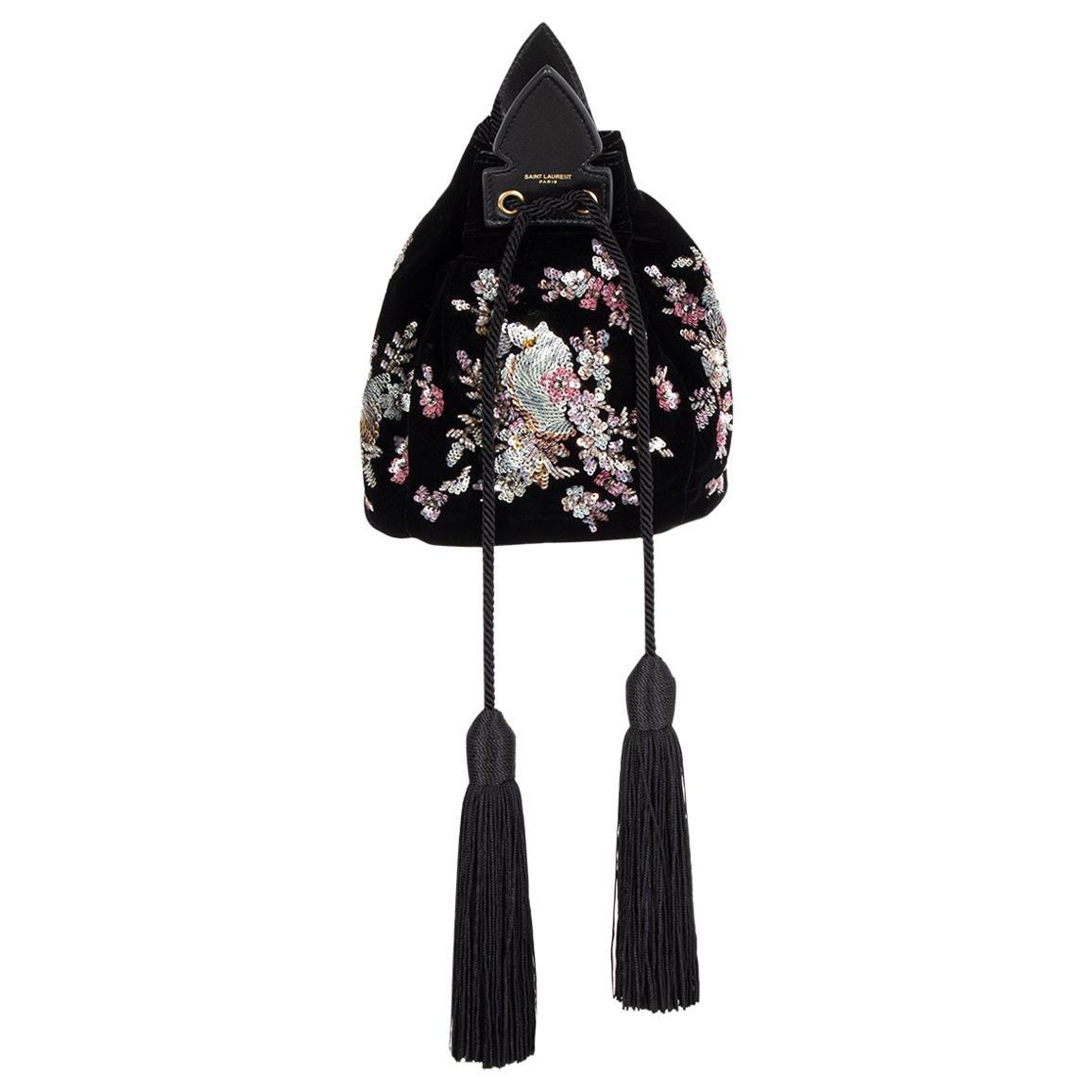 SAINT LAURENT black EMBELLISHED VELVET ANJA Bucket Shoulder Bag