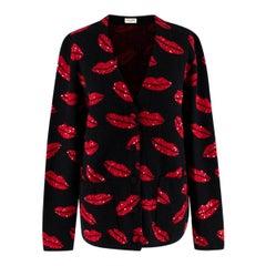 Saint Laurent Black Embroidered Lips Knit Cardigan - Size S