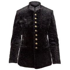 Saint Laurent Black Faux Persian Lamb Military Jacket