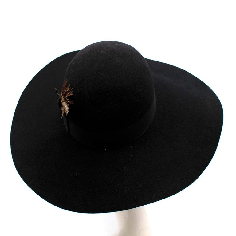 Saint Laurent Black Feather and Grosgrain-trimmed Hat 58 In Excellent Condition For Sale In London, GB