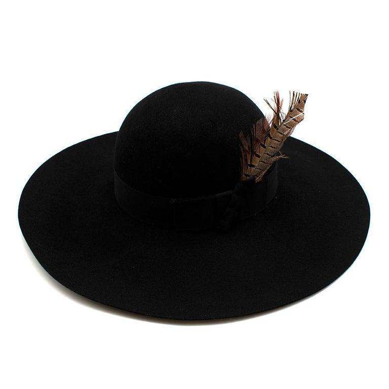 Saint Laurent Black Feather and Grosgrain-trimmed Hat 58 For Sale 1