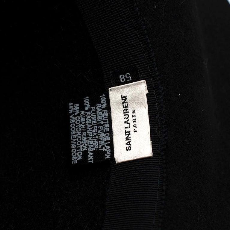 Saint Laurent Black Feather and Grosgrain-trimmed Hat 58 For Sale 4