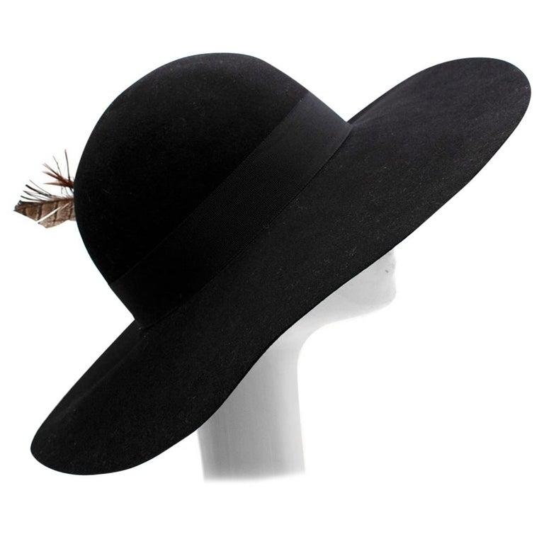 Saint Laurent Black Feather and Grosgrain-trimmed Hat 58 For Sale
