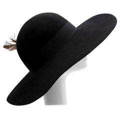 Saint Laurent Black Feather and Grosgrain-trimmed Hat - Size 58