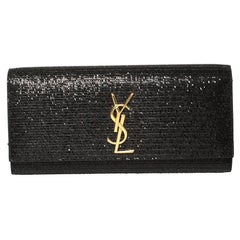 Saint Laurent Black Glitter Fabric Cassandre Clutch