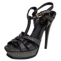 Saint Laurent Black Glitter Tribute Platform Sandals Size 38.5