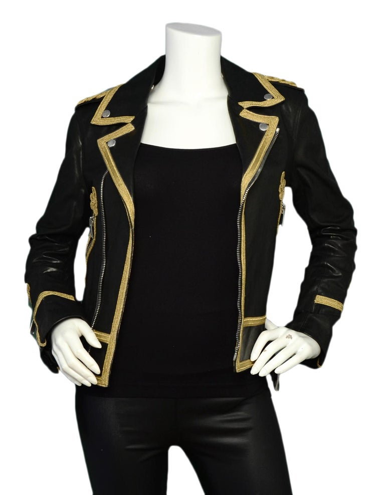 Saint Laurent Black/Gold Men's Leather Officer Biker Jacket w/ Gold Trim sz 38  Made In: Italy Year of Production: 2015 Color: Black, gold Materials: 100% leather. Combo: 72% viscose, 28% lurex Lining: 55% cotton, 45% cupro Opening/Closure: Exposed