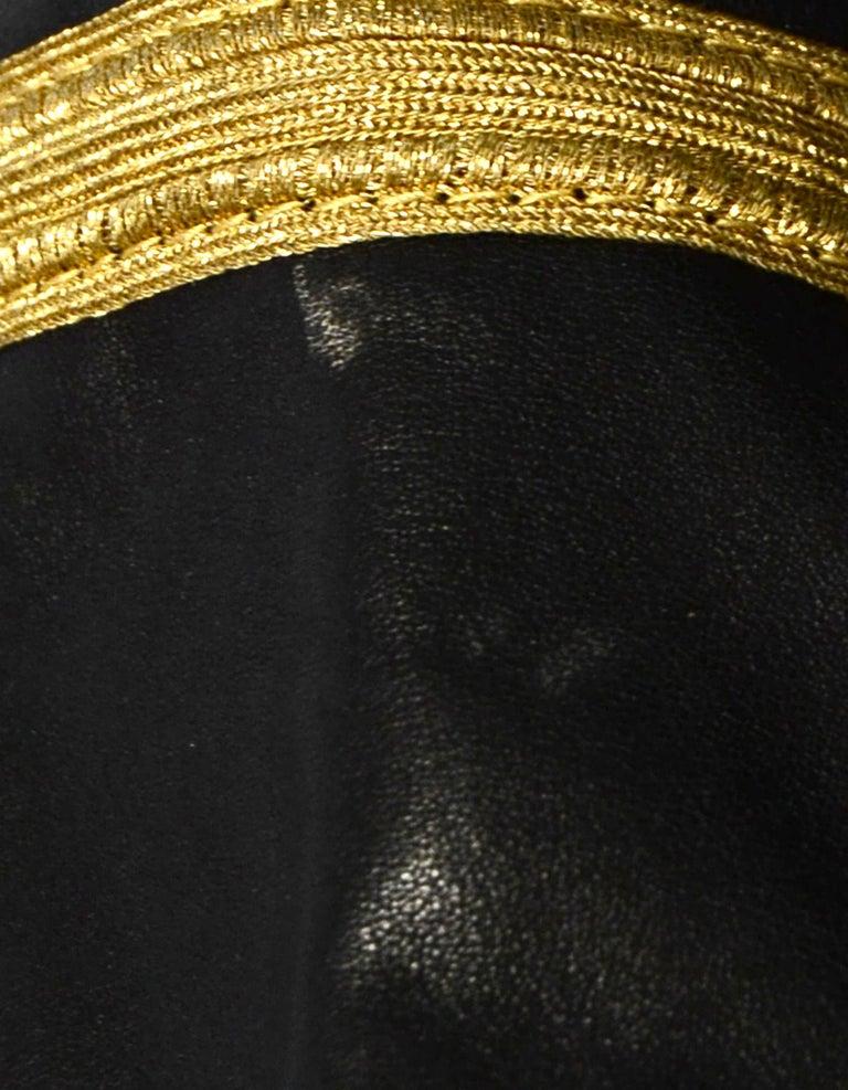 Saint Laurent Black/Gold Men's Leather Officer Biker Jacket w/ Gold Trim sz 38 For Sale 1