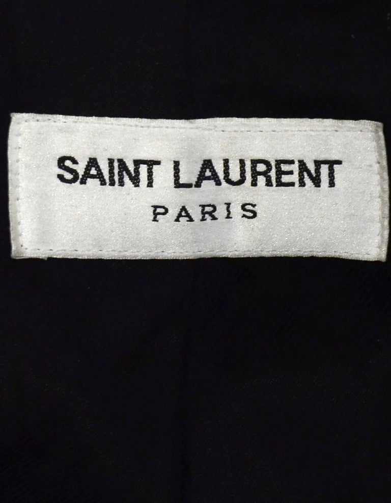 Saint Laurent Black/Gold Men's Leather Officer Biker Jacket w/ Gold Trim sz 38 For Sale 2