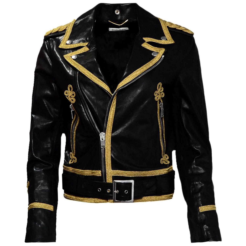 479112370 Saint Laurent Black/Gold Men's Leather Officer Biker Jacket w/ Gold Trim sz  38