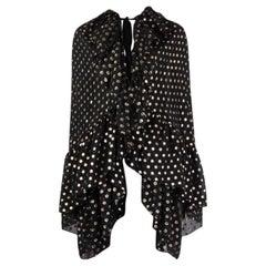 SAINT LAURENT black & gold POLKA-DOT silk CHIFFON CAPE Jacket 36 XS