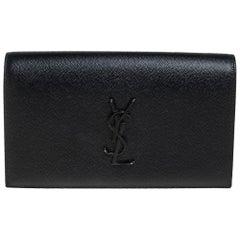 Saint Laurent Black Grained Leather Kate Clutch