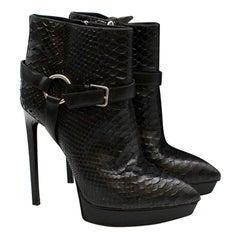 Saint Laurent Black Janis Python Ankle Boots 39