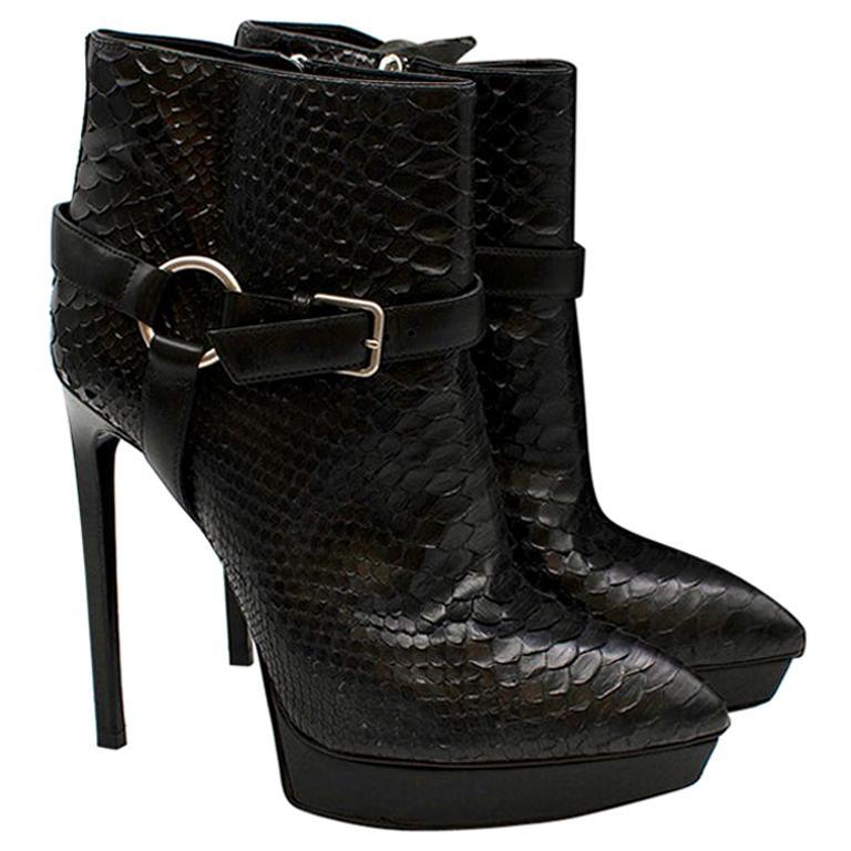 Saint Laurent Black Janis Python Ankle Boots - Size EU 39