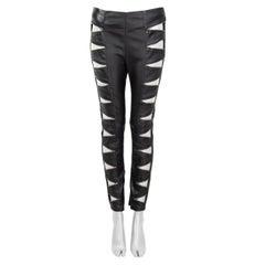 SAINT LAURENT black leather 2015 ZIPPER CUT-OUT Pants XS