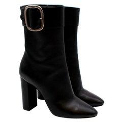 Saint Laurent Black Leather Buckle Heeled Joplin Boots - Size EU 39