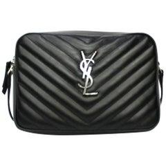Saint Laurent Black Leather Camera Bag Lou