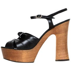 Saint Laurent Black Leather Candy Platform Sandals sz 39