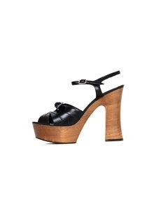 Saint Laurent Black Leather Candy Platform Sandals sz 39