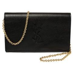 Saint Laurent Black Leather Chain Clutch