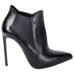 SAINT LAURENT black leather CLASSIC PARIS 110 Ankle Boots Shoes 37