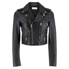 Saint Laurent black leather cropped jacket	FR 36
