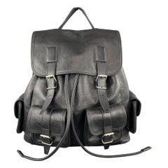 SAINT LAURENT Black Leather Drawstring ROCK SACK Backpack